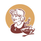 Vector portrait of lovely grandmother. And home made soup Stock Photography