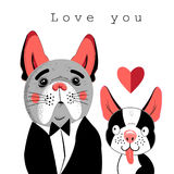 Vector portrait of lovers of dogs vector illustration