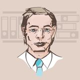 Vector portrait of a man in a white shirt with a tie on the back vector illustration