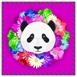 Vector portrait of a panda among the flowers. Beautiful, bright colors. Flower frame, rim. Symmetrical portraits of animals. Royalty Free Stock Photography