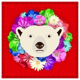 Vector portrait of a polar bear among the flowers. Beautiful, bright colors. Flower frame, rim. Symmetrical portraits of animals. Royalty Free Stock Images