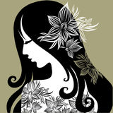Vector portrait of woman with flower in hair. Vector closeup portrait of woman with flower in long hair (From my big Vintage woman collection stock illustration