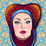 Vector portrait of woman in oriental headdress Royalty Free Stock Photography