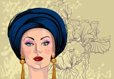Vector portrait of woman in oriental headdress Stock Photos