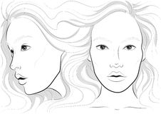 vector portrait of a woman`s profile and full face with long beautiful hair, facechart, face chart  for makeup Stock Photo