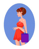 Portrait of woman on a shopping with bags. Vector portrait of woman on a shopping with bags, sale or black friday with great discounts Royalty Free Stock Images