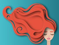 Vector portrait of young beautiful woman with long red curly hair. Modern digital paper layered art. Origami style. Beauty and fashion concept royalty free illustration