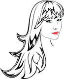 Vector portrait of young girl Stock Images
