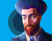 Young Jew in the low polygon style. Vector portrait of a young Jew in the low polygon style. The man has a red beard and wide eyebrows. He is wearing a high hat stock illustration