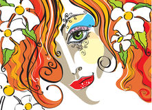 Vector portrait of the young woman. With red hair vector illustration
