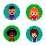 Vector portraits of children. Icons. Avatars. Royalty Free Stock Image