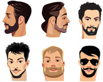 Vector portraits of face men with beard, bearded man Royalty Free Stock Image