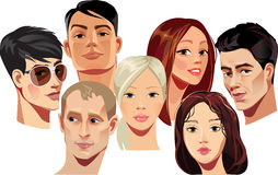 Vector portraits of faces of men and women. Vector illustration of people's heads on a white background stock illustration