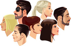 Vector portraits of faces of men and women in profile Stock Images
