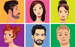 Vector portraits of faces people on colored background Royalty Free Stock Photography