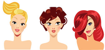 Vector portraits of girls for avatar, blonde, red, brunette hair, beauty face Stock Images