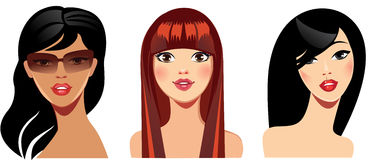 Vector portraits of girls for avatar, red, brunette hair, beauty face Royalty Free Stock Photo