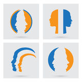 Vector portraits silhouette of a couple. Man and woman icons set. Vector portraits silhouette of a couple. Flat graphic style. Relationship between man and woman Stock Photography