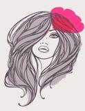 Vector portret van langharig meisje met bloem. Stock Afbeeldingen