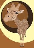 Vector portret van leuke giraf Stock Foto