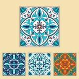 Vector Portugees tegelontwerp in verschillende kleur vier Mooi gekleurd patroon voor ontwerp en manier met decoratieve elementen Royalty-vrije Stock Afbeeldingen