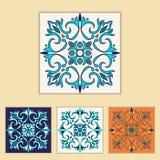 Vector Portugees tegelontwerp in verschillende kleur vier Mooi gekleurd patroon voor ontwerp en manier met decoratieve elementen Stock Afbeelding