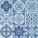 Vector Portuguese Azulejo Tiles Seamless Pattern Background vector illustration