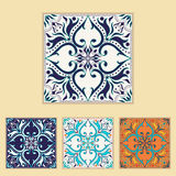 Vector Portuguese tile design in four different color. Beautiful colored pattern for design and fashion with decorative elements Royalty Free Stock Photo