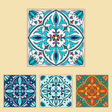 Vector Portuguese tile design in four different color. Beautiful colored pattern for design and fashion with decorative elements Royalty Free Stock Images