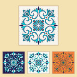 Vector Portuguese tile design in four different color. Beautiful colored pattern for design and fashion with decorative elements Stock Image