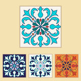 Vector Portuguese tile design in four different color. Beautiful colored pattern for design and fashion with decorative elements Stock Photography