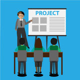 Vector - Poses of young businessmen, presentation white board. On blue background Stock Photography