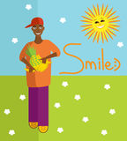 Vector positive illustration of smiling boy with fruits. Royalty Free Stock Photos
