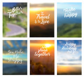 Vector positive quotes with page cover nature landscape background Stock Photo