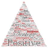 Vector positive thinking, happy strong attitude. Vector conceptual positive thinking, happy strong attitude triangle arrow word cloud isolated on background Stock Photos