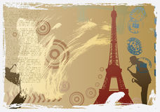 Vector post card design with eiffel tower. And saxophonist royalty free illustration