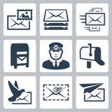 Vector post geplaatste de dienstpictogrammen Stock Afbeeldingen