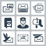 Vector post service icons set Stock Images
