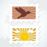 Vector post stamp set on a grunge background Royalty Free Stock Photo