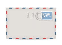 Vector postage envelope with stamp stock illustration