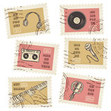 Vector postage stamps collection Stock Photos