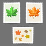 Vector postage stamps with maple leaf icons Stock Photo