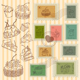 Vector postage stamps retro pastry theme, canceled, decorative s. Et for scrapbooking Stock Photo