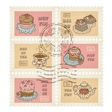 Vector postage stamps Royalty Free Stock Photo