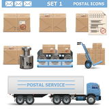 Vector Postal Icons Set 1 Stock Photography