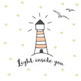 Vector postcard or banner with lighthouse and typography. Light inside you. Royalty Free Stock Photography