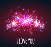 Vector postcard with colorful bright fireworks of hearts. For your creativity Stock Image