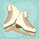 Vector postcard design with ice skates Stock Photos