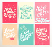 Vector postcard design template with lettering. stock illustration