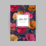 Vector postcard with floral background. Romantic bright postcard, abstract red, orange, pink flowers with contours on a dark background, the inscription in the Royalty Free Stock Images